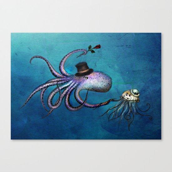 Underwater Love // octopus jellyfish Canvas Print