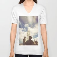budapest hotel V-neck T-shirts featuring Budapest by BriAnneWills