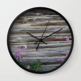Cabin with Flowers Wall Clock