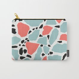 Living Coral and Light Blue Terrazzo Carry-All Pouch
