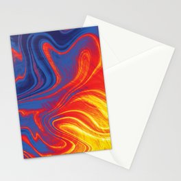 Fire and Ice Swirl Marble (Red, Orange, Blue) Stationery Cards