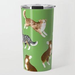 Australian Shepherd Pattern (Green Background) Travel Mug