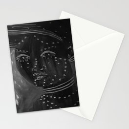 Night by Lu, black-and-white Stationery Cards