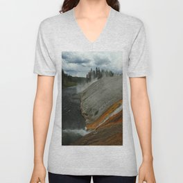 Thermal Geyser Runoff Into Firehole River Unisex V-Neck