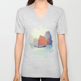 Chinese Boat on the water Unisex V-Neck
