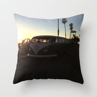 vw Throw Pillows featuring VW by Sabrina Daniella