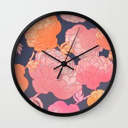 Pink romantic peony pattern on grey background digital illustration  Wall Clock