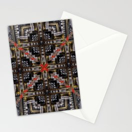 no. 166 black white red gold pattern Stationery Cards