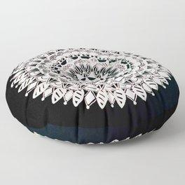 Metallic White Floral Mandala on Black Background Floor Pillow