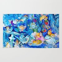 fairies Area & Throw Rugs featuring Fairies Cats by oxana zaika