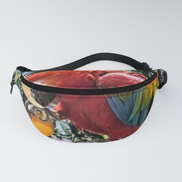 Red macaw parrot ara I Fanny Pack