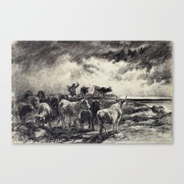 Rosa Bonheur - A Cowherd Driving Cattle - Digital Remastered Edition Canvas Print