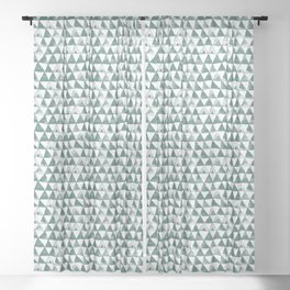 Green Tribal Triangles Sheer Curtain
