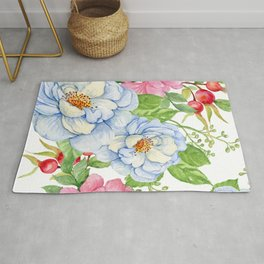 Exquisite Floral Pattern in Pastel Blues and Pinks Rug