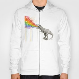 T-Rex Dinosaur Rainbow Puke Taste the Rainbow Watercolor Hoody