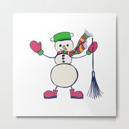 Snowman Christmas illustration Metal Print