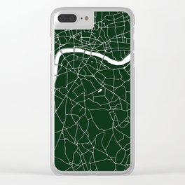 Green on White London Street Map Clear iPhone Case