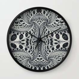 Wild Fiber III. Black and White Abstract Art Wall Clock