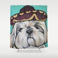 shih tzu Shower Curtains featuring Mimosa the Shih Tzu by Cheney Beshara