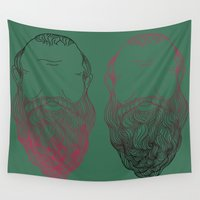 popart Wall Tapestries featuring Socrates Beard PopArt by Britbee CokerMoen
