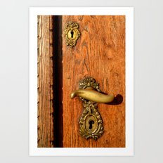 Old Oak Door With Brass Handle and Locks Art Print