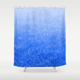 Light-to-Dark Blue Ombre Gradient Grass Shower Curtain