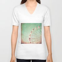 ferris wheel V-neck T-shirts featuring Ferris Wheel by Caroline Mint