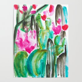 Pink Happy Plants Poster