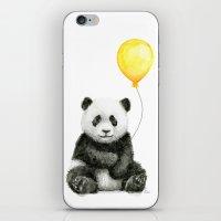Panda Watercolor Animal with Yellow Balloon Nursery Baby Animals iPhone & iPod Skin