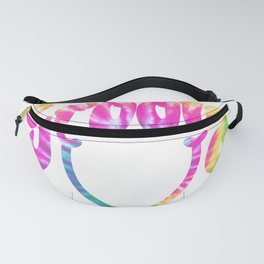 Groovy Smile // Tie-dye Fun Retro 70s Hippie Vibes Green Yellow Pink Blue Lettering Typography Art Fanny Pack