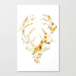 Mr Stag Orange Flowers Canvas Print