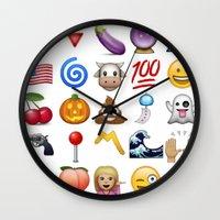 emoji Wall Clocks featuring Emoji  by rivercbishop