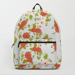 Climbing Roses, Crimson, Green, Pink and Grey Backpack