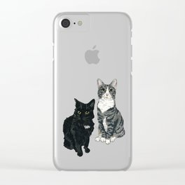 Black and Grey Kitties Clear iPhone Case