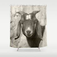 goat Shower Curtains featuring Smiling Goat by BACK to THE ROOTS