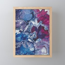 Blue and Red Abstract encaustic flowers Framed Mini Art Print