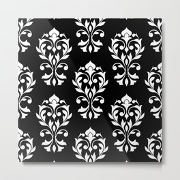 Heart Damask Pattern II WB Metal Print