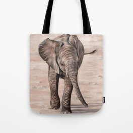 African Elephant Calf Painting Tote Bag