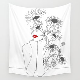 Minimal Line Art Girl with Sunflowers Wall Tapestry