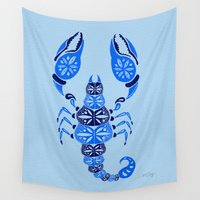 venom Wall Tapestries featuring Blue Scorpion by Cat Coquillette