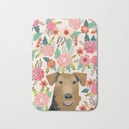 Airedale Terrier floral pet portrait cute gifts for dog lover pet friendly dog florals Bath Mat