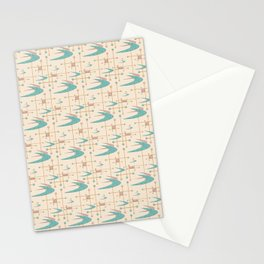 Mid Century Boomerangs in textured Blush Pink and Blue Stationery Cards