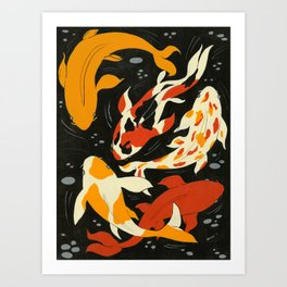 Koi in Black Water Art Print