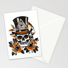 Smoking skull and roses Stationery Cards