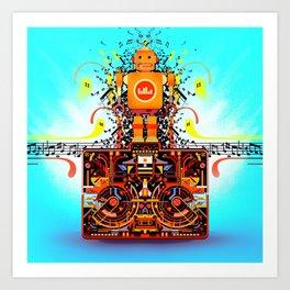 Music Stereo Robot Art Print