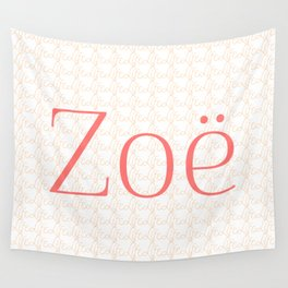 Zoe Means Life - Peach Wall Tapestry