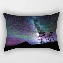Colorful Milky Way Landscape Teal Violet Rectangular Pillow