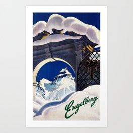 Vintage Engelberg Switzerland Travel Art Print