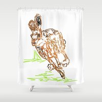 hare Shower Curtains featuring Hare by Simon Boulton