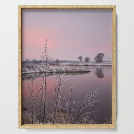 Winter Sunset At River Bank Serving Tray